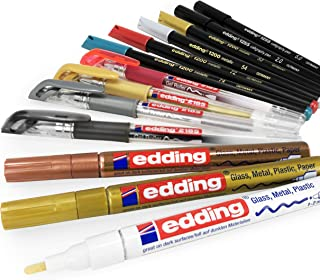 Edding 13 Piece Colouring Set in Gift Box - Includes Paint Markers, Gel Pens, Calligraphy and Fibrepens - Mixed Colours