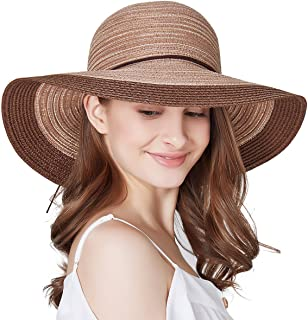 ed85b0dc590be SOMALER Women Floppy Sun Hat Summer Wide Brim Beach Cap Packable Cotton Straw  Hat for Travel