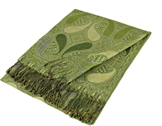 Paskmlna Paisley Pattern Tow Layered Woven Pashmina Shawl Scarf Wrap Stole