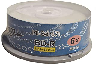 Copystars Blu-ray Media Blank BD-R Disc 25 GB 6X White Inkjet Printable Single Layer Recordable Disc Spindle 25pcs