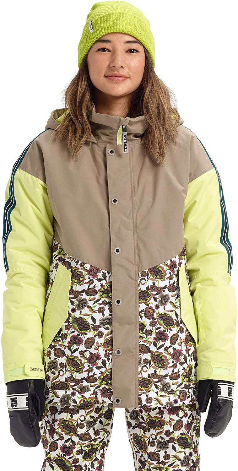Burton Women's Women's Loyle Parka, Timber Wolf Sunny Lime Whit Floral, Large