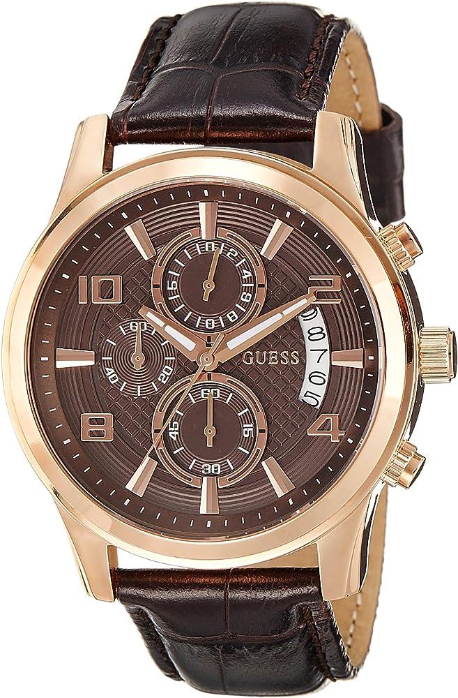 Guess orologio da uomo cassa in acciaio e cinturino in vera pelle W0076G4