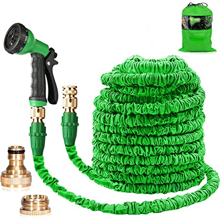 Suplong Water Hose Pipe Garden Hose Expandable 3 Times Expandable Hose 100ft Flexible Magic Hose Pipes Gardening With 8 Function Spray/Brass Connector Fittings/Storage Bag(Green-100)