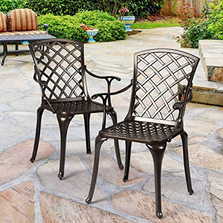 Amazon Com Giantex Aluminum Arm Dining Chairs Set Of 2 Durable Cast Solid Construction Outdoor Patio Bistro Chair W Hollow Design Of Back For Garden Backyard Poolside Living Room Cast Arm Dining Chairs 1