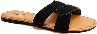 Qupid Archer Slides for Women - Crisscross Band Sandals