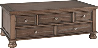 Ashley Furniture Signature Design - Flynnter Casual Cocktail Table with Storage - Medium Brown