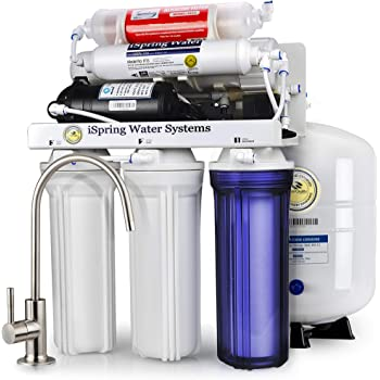 iSpring RCC7P-AK Boosted Performance Under Sink 6-Stage Reverse Osmosis Drinking Filtration System and Ultimate Water Softener with Alkaline Remineralization, and Pump, WQA Gold Seal Certified