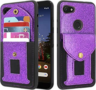 Lacass Shockproof Slim Leather Wallet Case Protective Cover with Elastic Pocket Credit Card Slot Holder for Google Pixel 3a XL Case (2019) (Glitter Purple)