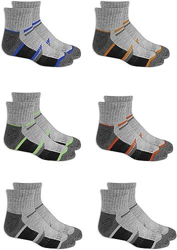 Fruit of the Loom Boys' 6-Pair Half Cushion Ankle Socks