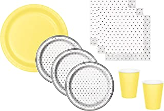 Gender Neutral Baby Shower Supplies Gray Silver Dot Plates Napkins With Yellow Plates Cups Serves 16 Guests