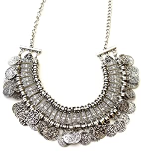 Fashion Handmade Statement African Indian Turkish Tribal Gypsy Oxidized Collar German Silver Coins Choker Necklace