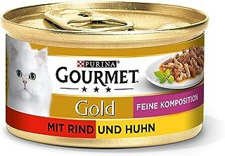 Purina Gourmet Gold Fijne Hapjes Kattenvoer, Nat, met Rund en Kip, 12 stuks (12 x 85 g)
