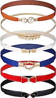 6 Pieces Women Skinny Waist Belts Stretch Waist Buckle Belts Thin Elastic Waist Cinch Belts Retro Faux Leather Waist Band ...