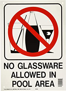 Hy-Ko Products 20425 Glassware Allowed in Pool Sign-159476, 10