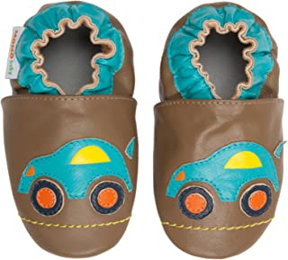Momo Baby Boys Soft Sole Leather Shoes - Road Trip (0-6 Months)