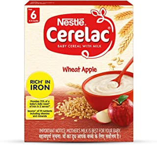 Nestlé CERELAC Fortified Baby Cereal with Milk, Wheat Apple - From 6 Months, 300g BIB Pack