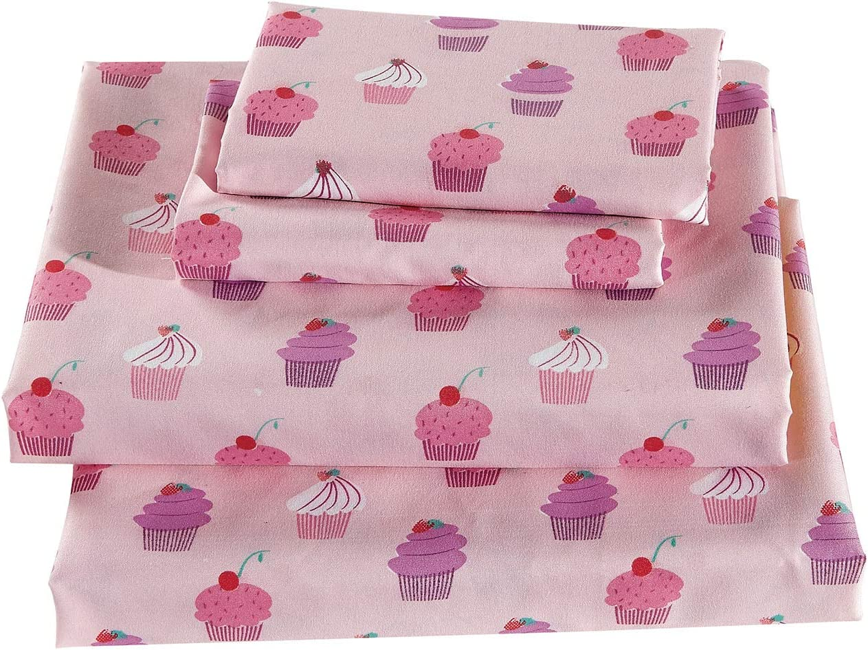 specialty Brand Cheap Sale Venue shop Linen Plus Sheet Set for Girls Cupcakes Pink Whi Teens Adults