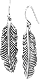 Etched Feather' Drop Earrings in Sterling Silver