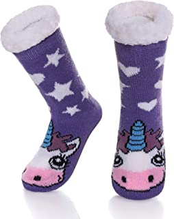 Boys Girls Cute Animal Slipper Socks Fuzzy Soft Warm Thick Fleece Lined Winter Socks Kids Toddlers Christmas Stockings