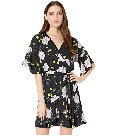 Cupcakes and Cashmere Locke Floral Printed Wrap Dress (Black) Women
