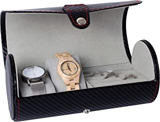 Royal Brands Watch Box Organizer Tray Carbon Fiber Pattern Display Jewelry Storage Case (3 Slots)