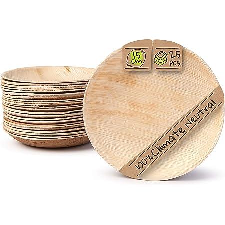 BIOZOYG Palmware Platos de Hojas de Palma I 25 Piezas de ojas de Palma Redondo Ø 15 cm I Bio vajilla desechable Boda compostable Biodegradable Vajilla ...