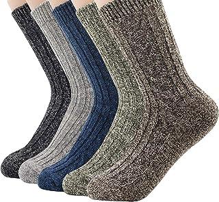 Century Star Women's Vintage Winter Soft Wool Warm Comfort Cozy Crew Socks 5 Pack
