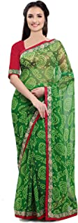 Jaanvi fashion Women's Chiffon Saree with Blouse Piece, Free Size (Firangi-Bandhani-Green)