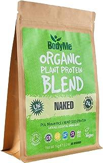 BodyMe Mezcla de Proteína Vegana Orgánica   Natural Naked   1Kg Polvo   NO AZUCARADA Con 3 Proteínas Vegetales