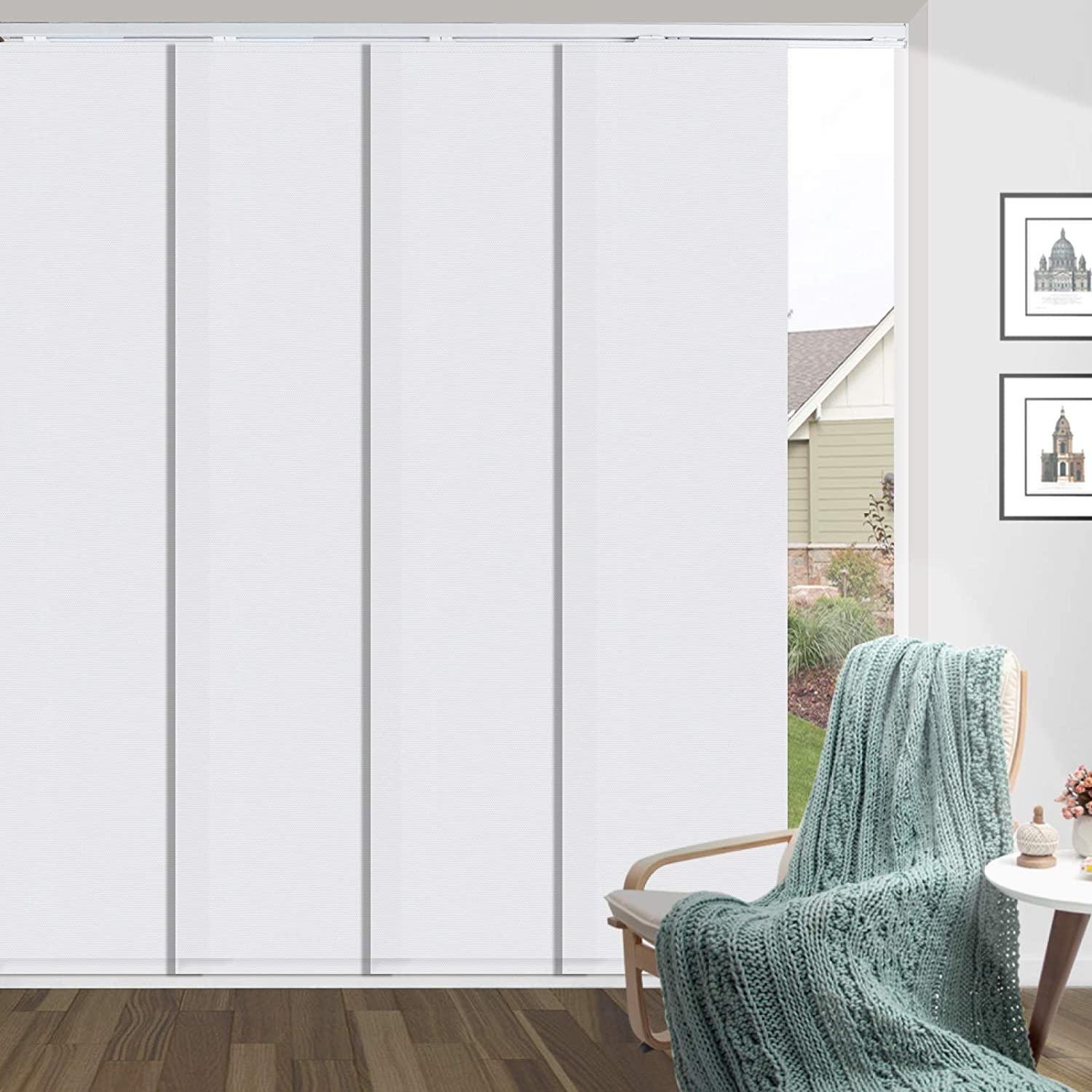 HousCa Max 60% OFF Blackout Sliding Panel Track White Blind Popular brand in the world Cust Adjustable