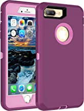 MXX iPhone 8 Plus Heavy Duty Protective Case with Screen Protector [3 Layers] Rugged Rubber Shockproof Protection Cover for Apple iPhone 7 Plus - iPhone 8 Plus/Apple Phone 8+ - Plum/Light Pink