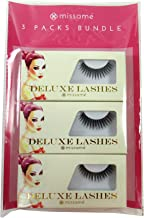 Missamé SULTRY Deluxe Beauty False Eyelashes Set Handmade with Premium Synthetic Fibers, Black, 3 Pairs