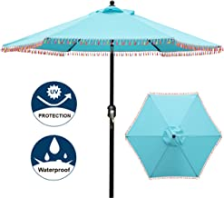 Blissun 7.5 ft Patio Umbrella with Fringe, Yard Umbrella Push Button Tilt Crank