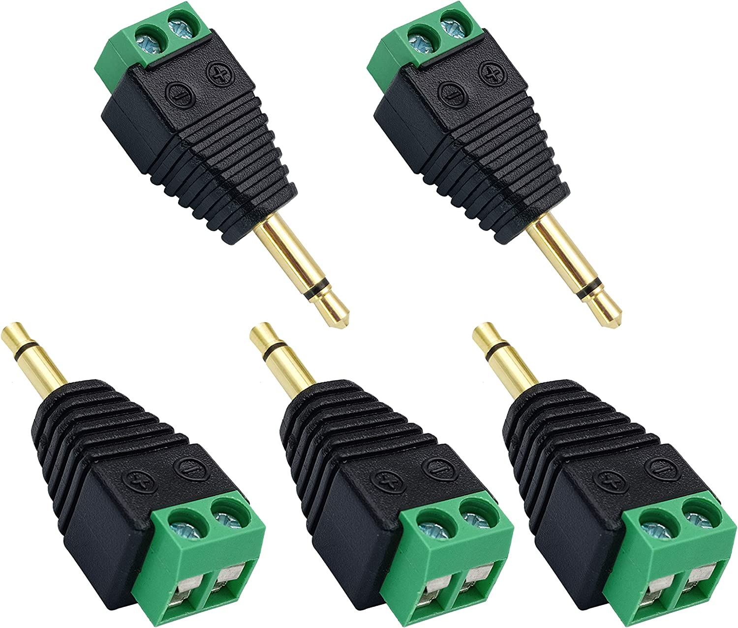 5-Pack//Female 1//8 TS Mono Female to 2 Pin Female Screw Terminal AUX Headphone Balun Solderless Converter Adapter AAOTOKK 3.5mm Screw Terminal Gold Plated 3.5mm