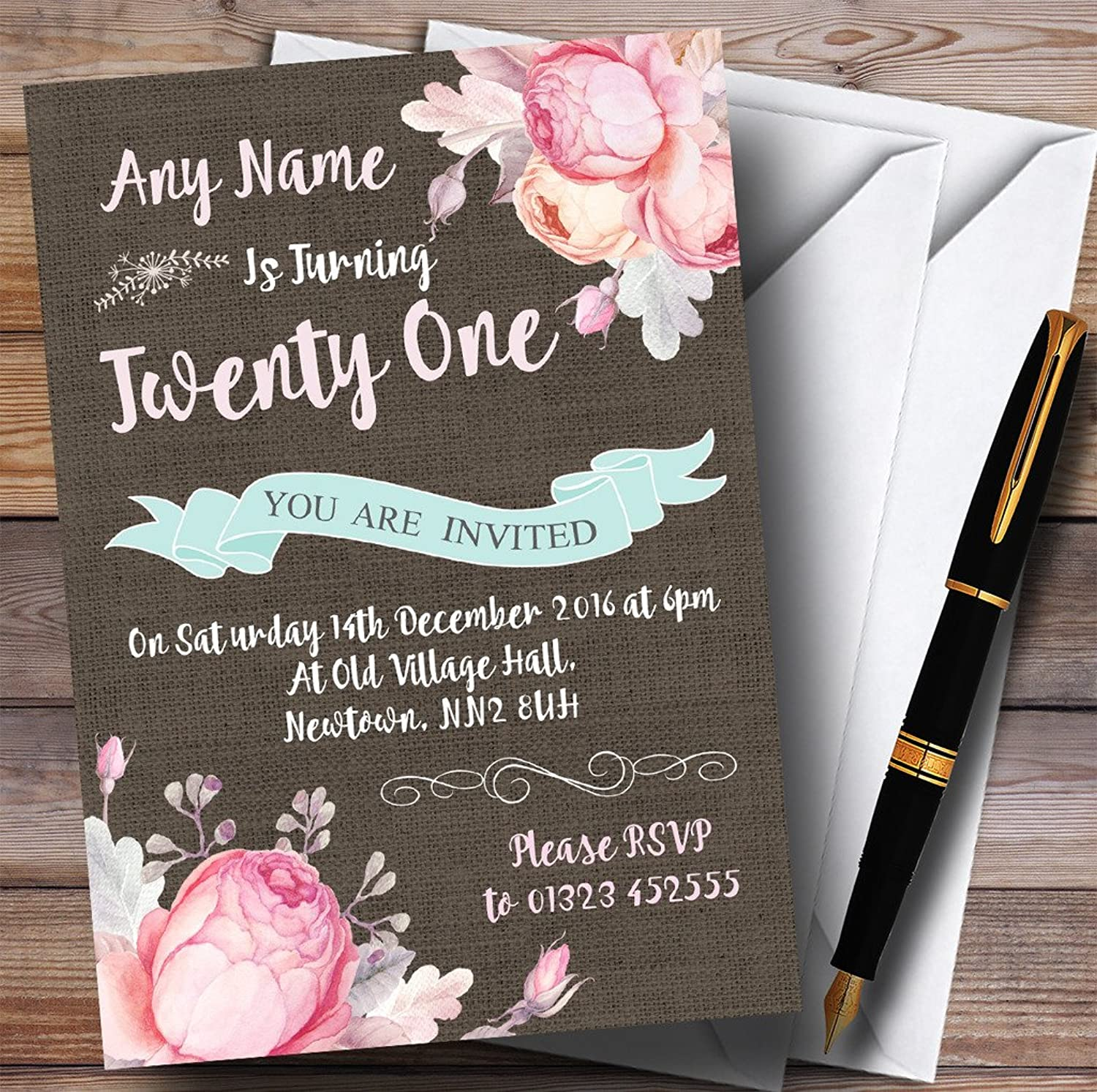 Vintage Burlap Style Floral 21st Personalised Birthday Party Invitations