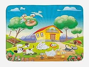 "Lunarable Animal Bath Mat, Farm House Scenery with Full of Chicken Rabbit Dogs Cat Funny Cartoon Kids Art, Plush Bathroom Decor Mat with Non Slip Backing, 29.5"" X 17.5"", Multicolor"