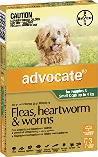 Advocate Flea, Heartworm and Worm Control for Puppies, Green, 3 Pack