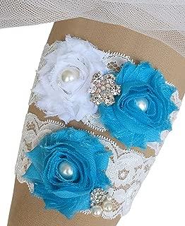 MerryJuly Bridal Garter Set Lace with Rhinestones Wedding Garters for Bride