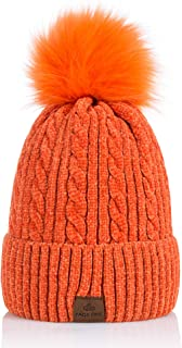 Womens Winter Fleece Lined Slouchy Pompom Beanie Chunky Baggy Hat Fur Winter Soft Warm Soft Cap