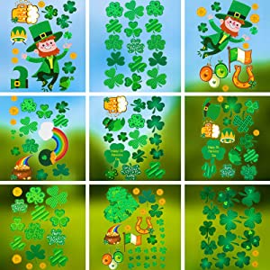 St. Patrick's Day Window Clings Shamrock Window Stickers Four Leaf Clover Home Decorations Décor Window Decorations Green Party Decals Irish Festival Holiday Ornaments Supplies, 9 Sheets