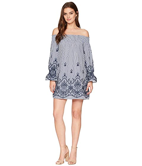 BISHOP + YOUNG Stripe Bare Off Shoulder Dress, Blue/White Stripe