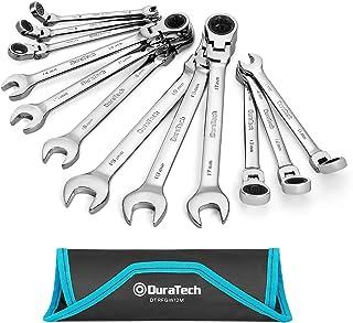 DURATECH Flex-Head Ratcheting Combination Wrench Set, Metric, 12-piece, 8-19mm, Chrome Vanadium Steel Construction with Ro...