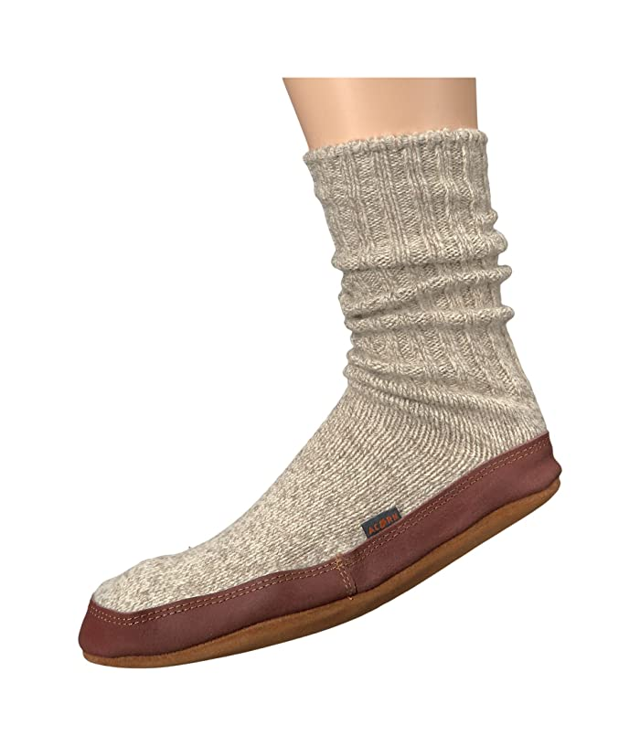 Acorn  Slipper Sock (Light Gray Ragg Wool) Shoes