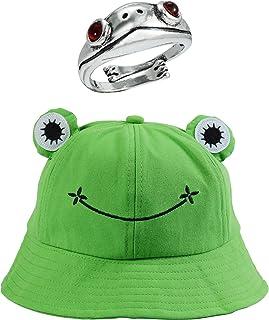 Dcola Cappello da Pescatore Rana per Donna e Uomo Cappello Sole a Forma di Rana, Cappello Tessuto in Cotone 56-58CM Adatto...
