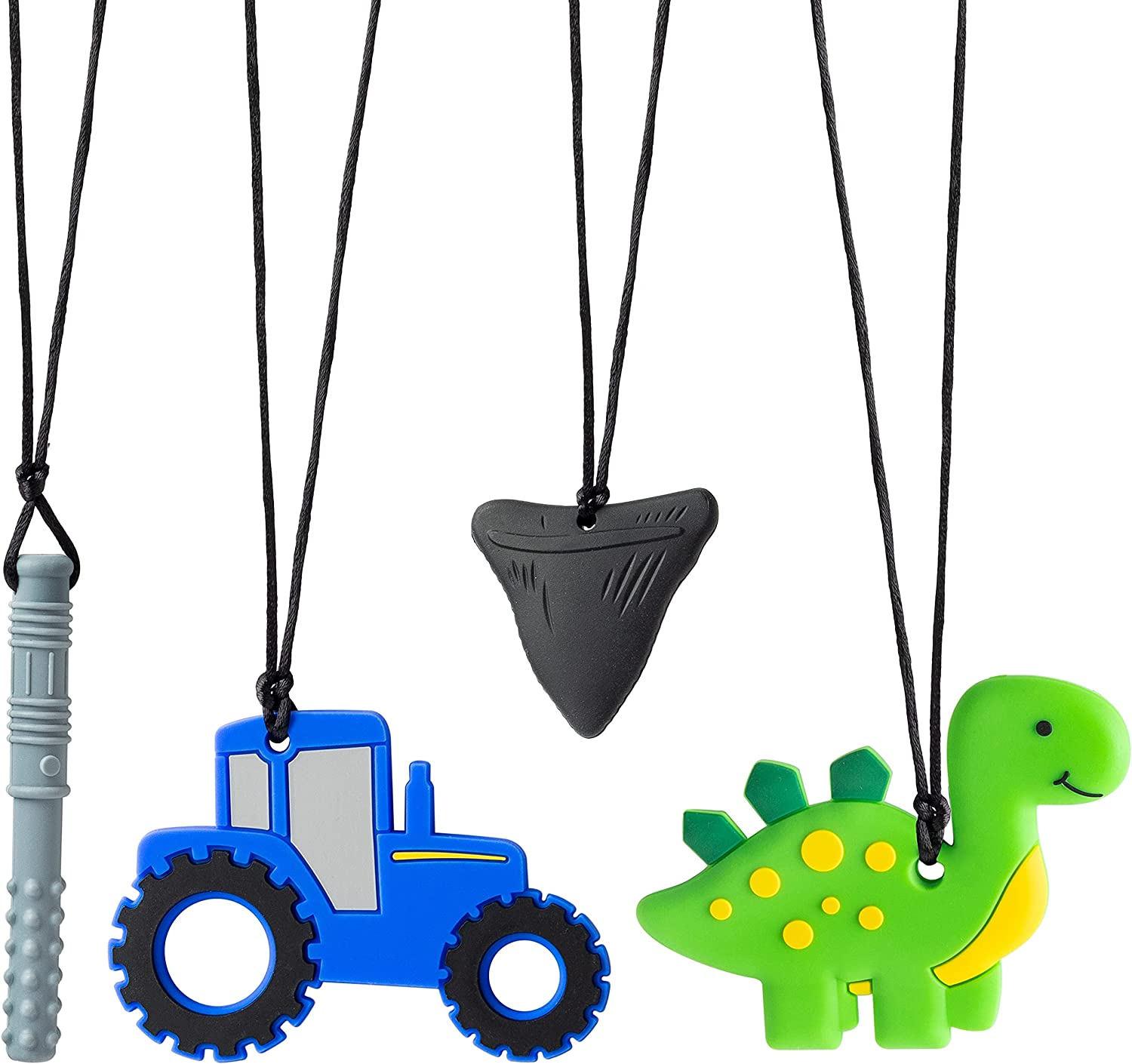 GROBRO7 4Pcs Sensory Chew Necklaces Car Teether Shark Tooth Food Grade Silicone Teething Chewing Toy Dinosaur Chewable Pendant Chewy Tubes for Infant Nibble Oral Motor Autism ADHD Boy Girl Kids