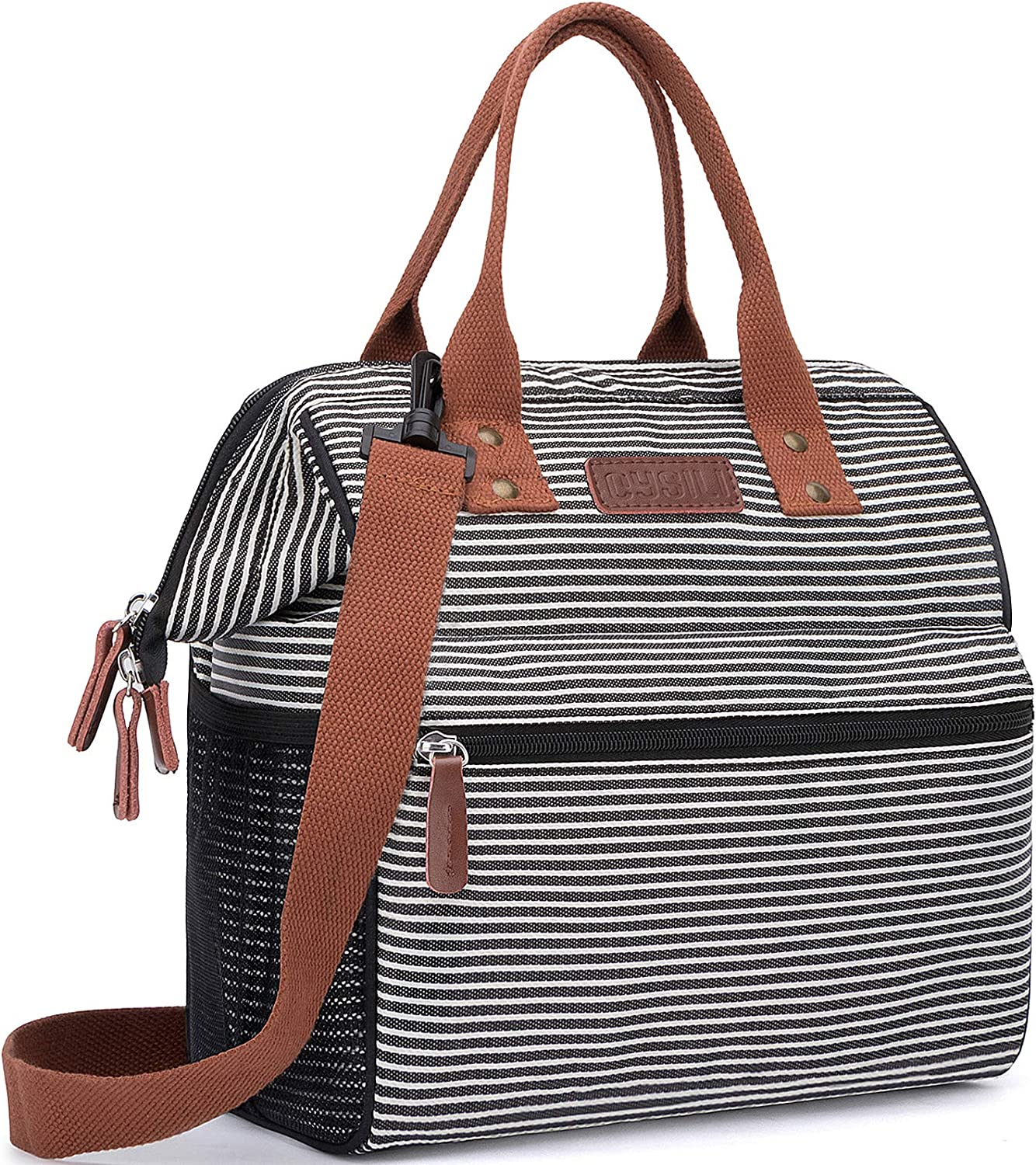 Insulated Lunch Bag, Wide-Open Lunch Box for Work/Picnic/Hiking/Beach/Fishing, Water-Resistant Leakproof Lunch Tote Bag for Women and Men (Black&White Stripe+Shoulder Strap)