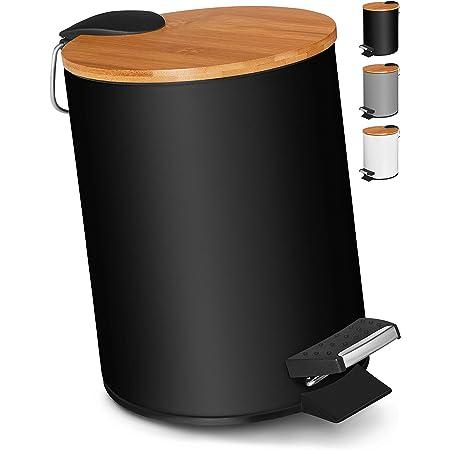 VMbathrooms 3L Poubelle Salle Bain   Poubelle à Pédale avec Fermeture Souple   Poubelle à cosmétiques au Design Élégant avec Couvercle en Bois de Bambou   Noir