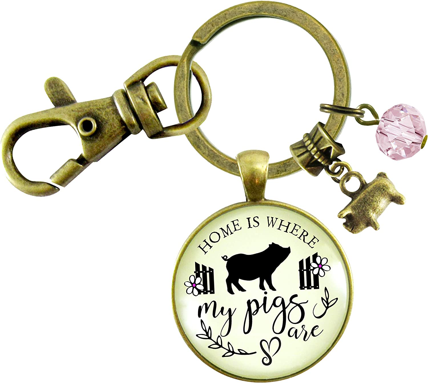 Gutsy Goodness Pig Keychain Home is Where My Pigs Are Farmer Girl Inspired Jewelry