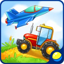 Learning vehicles for toddlers - interactive kids educational game to learn military equipment, rescue, farming, construction transport, and listen to sounds of transportation: tractor, fire engine, tank, bomber, crane machine, ambulance, excavator