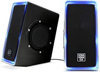 GOgroove Desktop Speakers for Laptop Computer - SonaVERSE O2i Gaming Computer Speakers USB Powered with AUX Input, Blue LED Lights, Dual 2.5